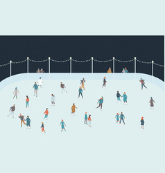 Happy people skating on ice rink vector