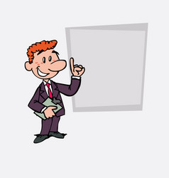 Happy red hair businessman is showing as in a vector