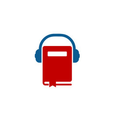 Headphone book logo icon design vector