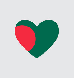 Heart in the colors of the flag of bangladesh vector