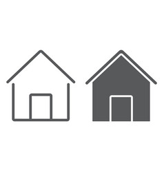 home line and glyph icon house and building vector image