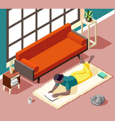 Home reading weekend isometric vector