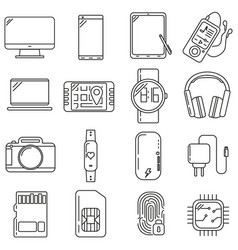 icons on the subject of technology set vector image
