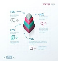 Infographic template status tower pink green gray vector