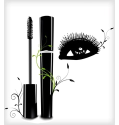 Ink for eyelashes with ornament and eye vector