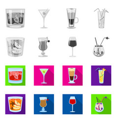 isolated object liquor and restaurant icon set vector image