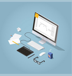isometric freelancer workspace vector image