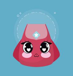 kawaii backpack icon vector image