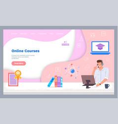 Landing page website online courses education vector