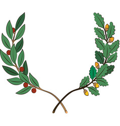 Laurel and oak branches with ribbon vector