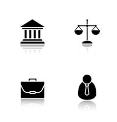 Law drop shadow icons set vector