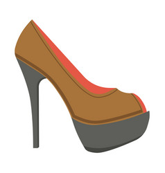 Leather stiletto shoe with open front isolated vector