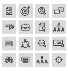 Line job search icons set vector