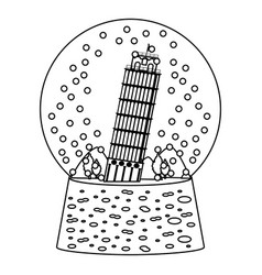 line leaning tower of pisa inside snow glass vector image