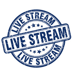 Live stream blue grunge stamp vector