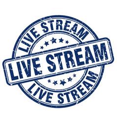 Live stream blue grunge stamp vector