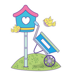 mailbox with nature birds and wheelbarrow in the vector image