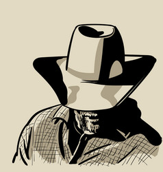 Man with cowboy hat and checkered shirt western vector