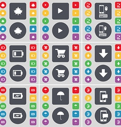 Maple leaf Media play Smartphone Battery Shopping vector image