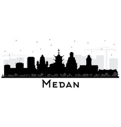 Medan indonesia city skyline silhouette with vector