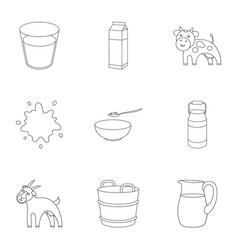 Milk set icons in outline style big collection of vector