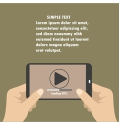 Mobile phone with video player on the screen in vector