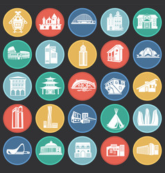 modern and ancient buildings set on color circles vector image
