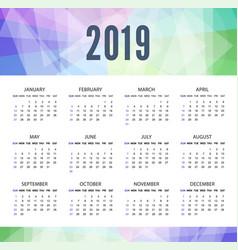 modern calendar template for 2019 years week vector image