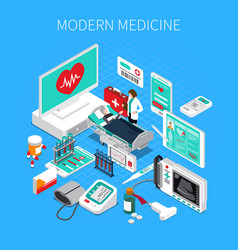 Modern medicine isometric composition vector