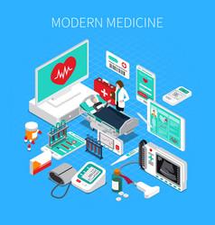 Modern medicine isometric composition vector