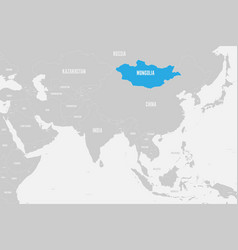 Mongolia blue marked in political map southern vector