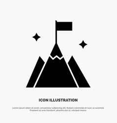 Mountain flag user interface solid glyph icon vector