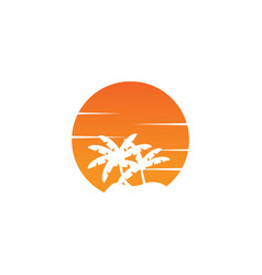 Negative space circle palm tree and orange sun vector