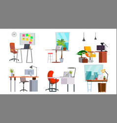 office workplace set interior of the vector image