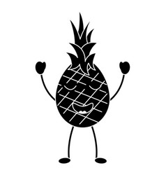 Pinapple happy bliss fruit kawaii icon image vector