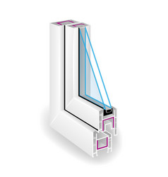 plastic profile frame window two transparent vector image