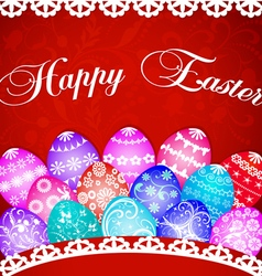 postcard at Easter eggs and ornament vector image