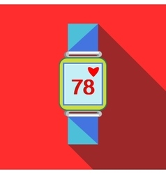 Pulsometer heart rate watch icon flat style vector