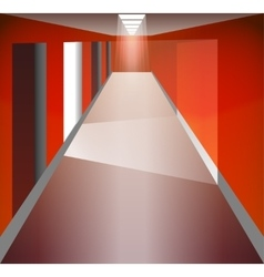 Red Corridor and doors Light at the end The vector