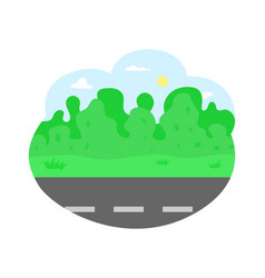 road and trees sunshine fair weather traveling vector image