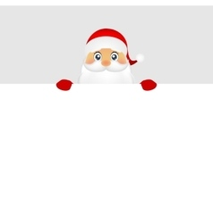 Santa peeping from behind a big white poster vector