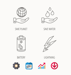 Save planet water and battery icons vector