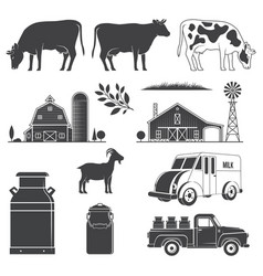 Set dairy and milk farm equipment icon vector