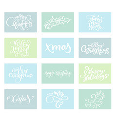 set merry christmas text calligraphic vector image