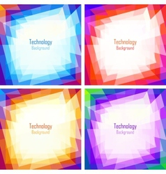 Set of bright abstract colorful technology frames vector