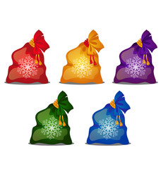 set of colored bags with christmas or new year vector image