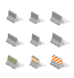 Set of iron concrete road barriers in 3d vector