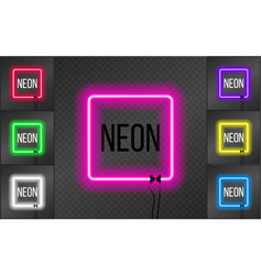 set of neon square frames on transparent vector image