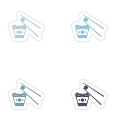 Set of paper stickers on white background cheese vector