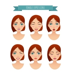 Set of women faces with different expressions vector